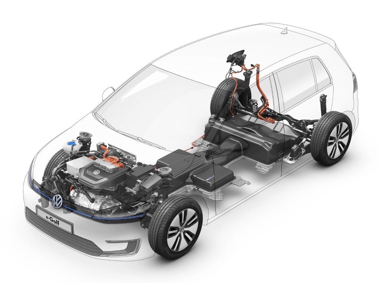 """A Volkswagen e-Golf esetében az """"e-"""" előtag nem egy utólag hozzácsapott elképzelés, az első pillanattól kezdve szerepelt a tervezési folyamatban ez a hajtáslánc is. Rendkívüli variálhatóságot tesz lehetővé a moduláris padlólemez, a Golf így például jelenlegi tesztalanyunk mellett hálózatról tölthető hibrid változatot is kínál"""