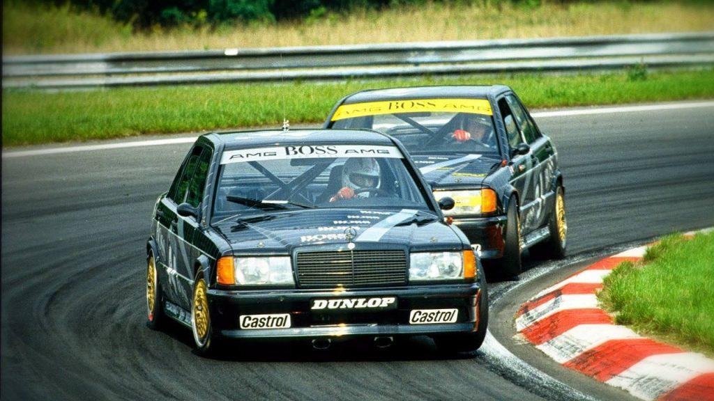 Johnny Cecotto (elöl) mindkét futamot megnyerte a Mercedes-Benz 190E-vel a Hungaroringen 1988 szeptemberében