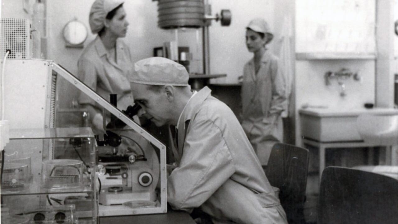Karl-Ernst Boeters az egyik legnevesebb úttörője az integrált áramkörök fejlesztésének 1965-ben (a mikroszkópnál)
